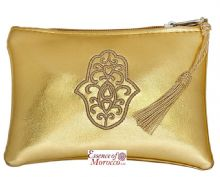"Moroccan Pouch Purse with Hamsa Design Handmade Gold Small 15 cm x 10 cm / 6"" x 4"""
